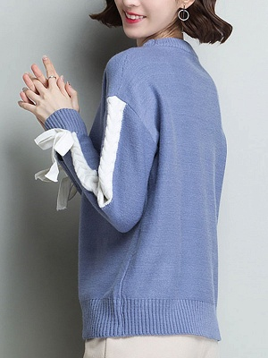 Casual Shift Long Sleeve Paneled Sweater_6