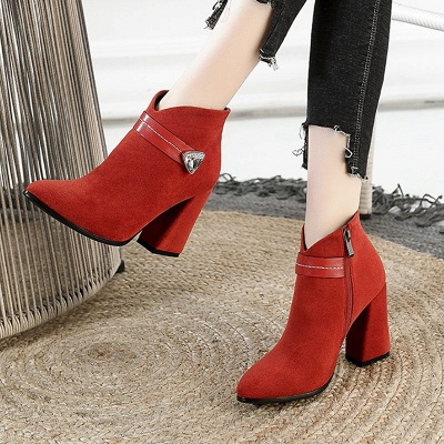 Zipper Chunky Heel Daily Suede Elegant Pointed Toe Boots_8