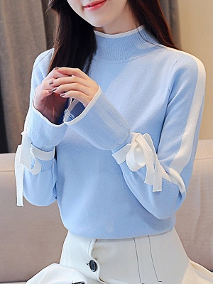 Turtleneck Casual Balloon Sleeve Paneled Sweater_5