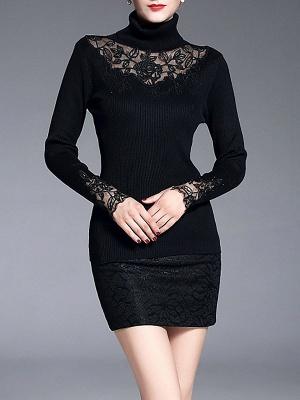 Shift Casual Long Sleeve Paneled Plain Sweater_1