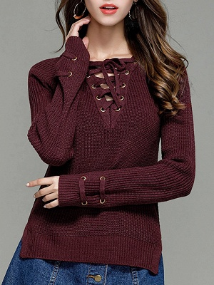 Sheath Long Sleeve Solid Lace up Casual Sweater_3