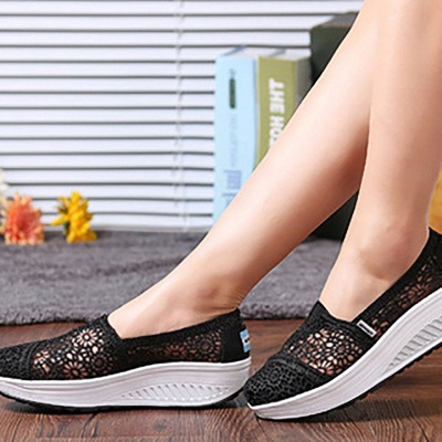 Lace Daily Breathable Fabrics Summer Round Toe Loafer Shoes_21