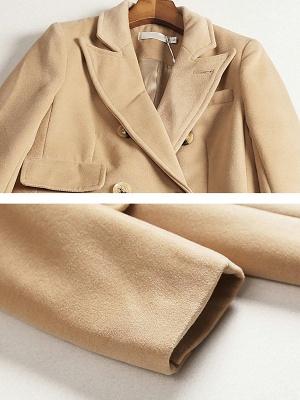 Camel Solid Long Sleeve Zipper Pockets Lapel Coat_6