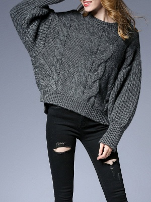 Long Sleeve Crew Neck Knitted Casual Sweater_2
