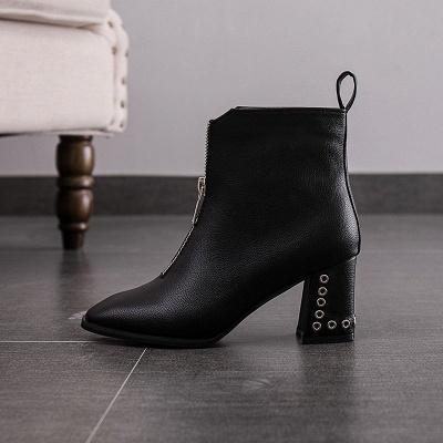 Zipper Chunky Heel Winter PU Daily Middle Heel (3-8cm) Boot_8
