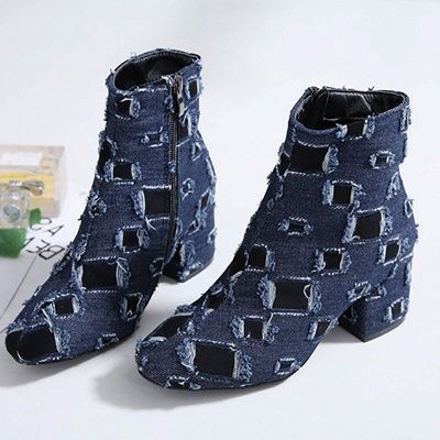 Daily Hollow-out Chunky Heel Round Toe Boots_6