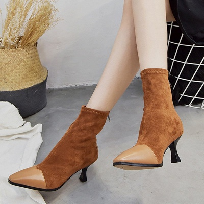 Zipper Cone Heel Daily Pointed Toe Elegant Boots_5
