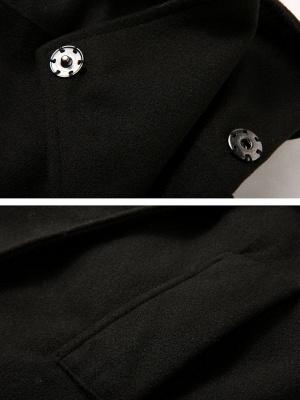 Black Long Sleeve Wool blend Work Asymmetrical Coat_6