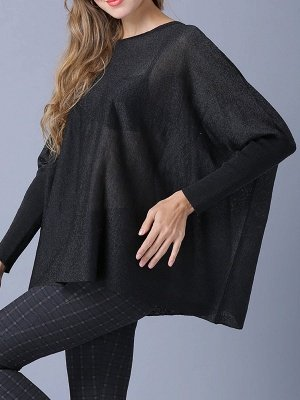 Solid Batwing Casual Knitted Crew Neck Sweater_11