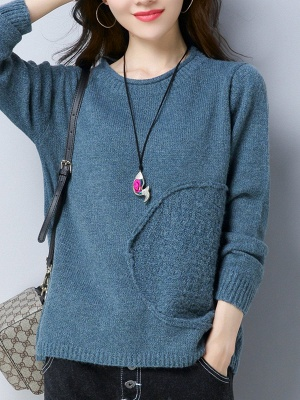 Long Sleeve Knitted Plain Casual Crew Neck Sweater_2