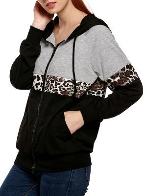 Black Leopard Print Casual Coat_3