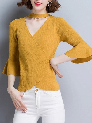 Shift Casual Solid Frill Sleeve Knitted Sweater_7