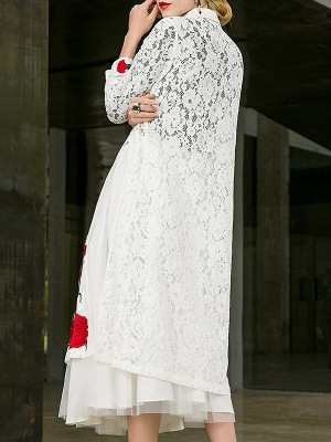 Paneled Long Sleeve Floral Casual Lace Coat_4