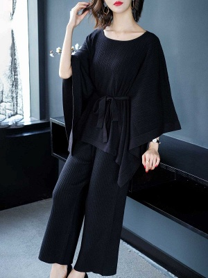 Batwing Solid Knot Front Casual Sweater_3