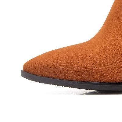 Chunky Heel Suede Elegant Round Toe Boots_12