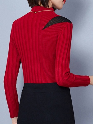 Solid Stand Collar Long Sleeve Casual Sheath Sweater_7