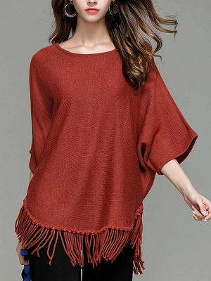Casual Solid Batwing Sweater_1