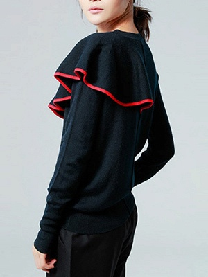 Black Paneled Long Sleeve Crew Neck Casual Wool Sweater_3