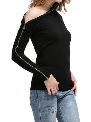 Black Sheath Solid Long Sleeve Zipper Casual Sweater_1