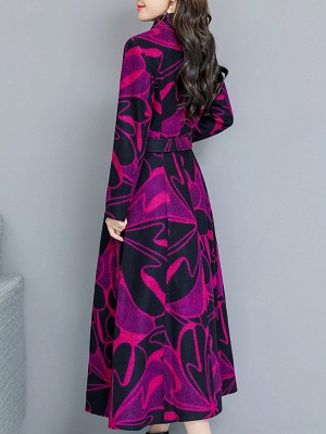 Rose Shift Casual Long Sleeve Printed Stand Collar Coat_7