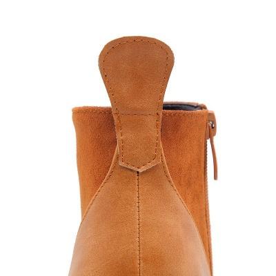 Chunky Heel Suede Elegant Round Toe Boots_13