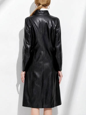 Black Long Sleeve Buttoned Casual Leather Solid Coat_3