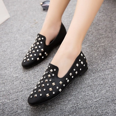 Rivet Daily Round Toe Chunky Heel Casual Loafers_2