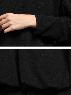 Bateau/boat neck Solid Shift Long Sleeve Casual Sweater_7