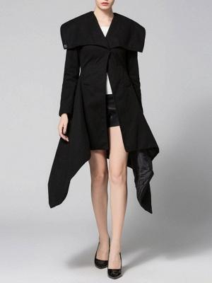 Black Long Sleeve Wool blend Work Asymmetrical Coat_5