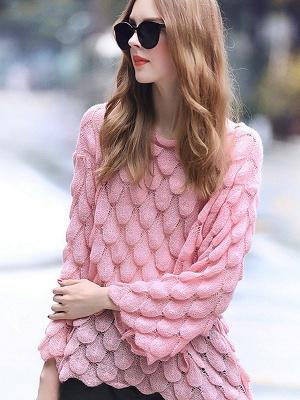 Pink Long Sleeve Geometric Paneled Shift Sweater_3