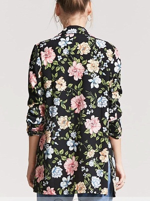 Black Cotton Casual Shift 3/4 Sleeve Floral Coat_3
