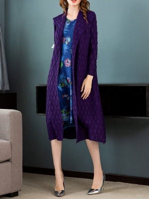 Purple Casual Embossed Long Sleeve Solid Shawl Collar Shift Slit Coat_4