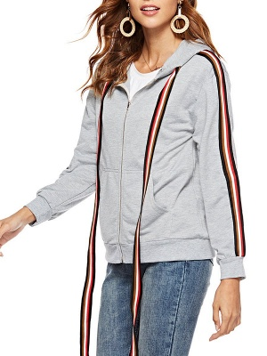 Gray Shift Hoodie Pockets Casual Zipper Paneled Coat_5