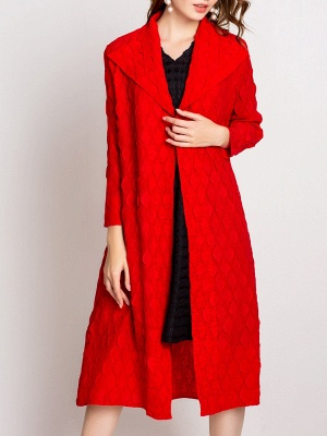 Long Sleeve Slit Casual Solid Shawl Collar Embossed Shift Coat_7
