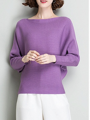 Shift Solid Batwing Bateau/boat neck Casual Sweater_5