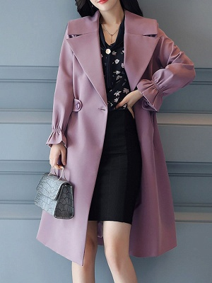 Bell Sleeve Casual Solid A-line Lapel Pockets Buttoned Paneled Coat_4