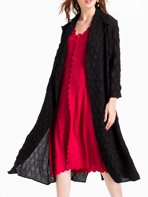 Long Sleeve Casual Slit Embossed Shawl Collar Solid Coat_8