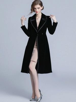 Black Lapel Paneled Buttoned Pockets Velvet Coat_5