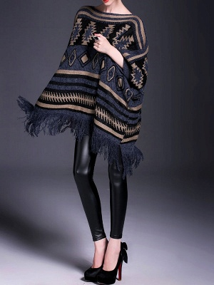 Dark blue Fringed Casual Cotton Batwing Sweater_4