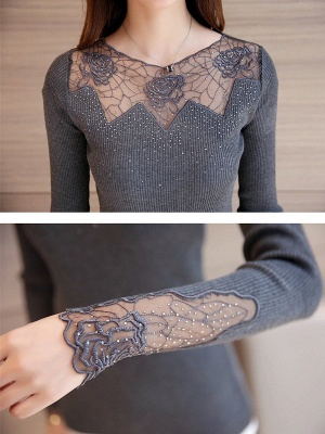 Long Sleeve Casual Floral Sweater_7