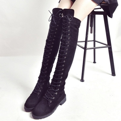 Lace-up Daily Chunky Heel Round Toe Suede Boot_3