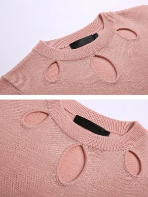 Solid Casual Long Sleeve Sweater_7