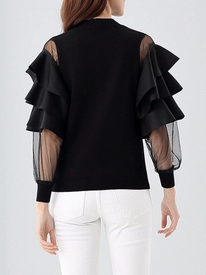 Long Sleeve Crew Neck Casual Knitted Ruffled Sweater_3