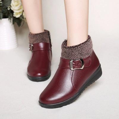 Wedge Heel Daily Zipper Round Toe Buckle Boots_6