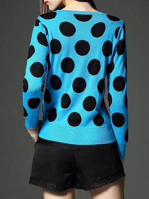 Blue Polka Dots Crew Neck Long Sleeve Casual Sweater_3