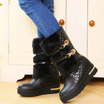 Women's Boots Black Wedge Heel Round Toe Buckle Boots_6