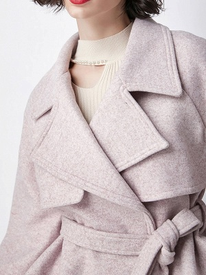 Light Pink Lapel Work Balloon Sleeve Paneled Coat_6