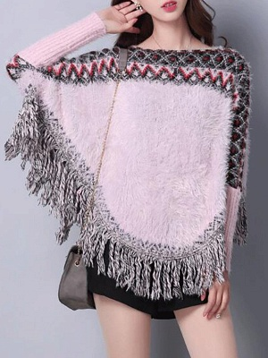 Casual Batwing Fringed Sweater_2