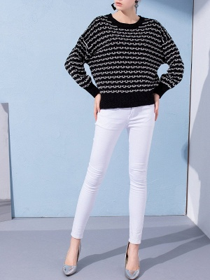Crew Neck Long Sleeve Shift Casual Sweater_2