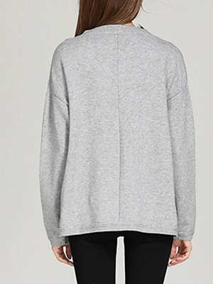 Crew Neck Long Sleeve Casual Shift Sweater_4